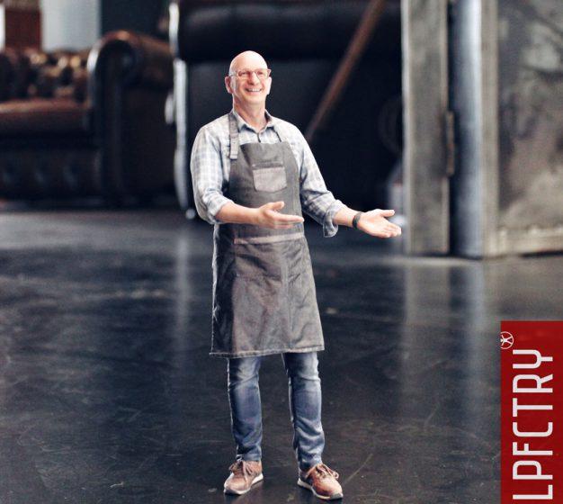 man wearing apron